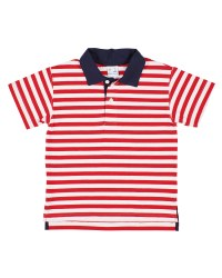 Red, White Stripe Knit, 97% Cotton 3% Spandex, Navy Collar