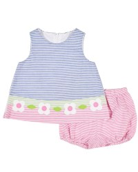 Multi Bright Seersucker Dress, Bloomer, 55% Cotton, 45% Polyester, Flowers