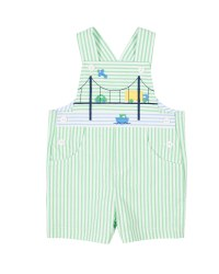 Light Green Seersucker Shortall, 100% Cotton, Bridge Scene