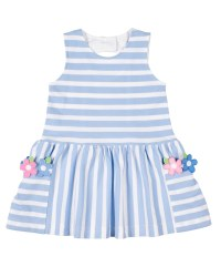 Light Blue Stripe Knit Pique Dress, 100% Cotton, Flowers