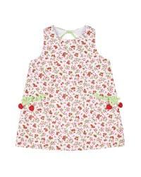 Cherry Print Finewale Pique Dress, 50% Cotton, 50% Polyester, Cherries