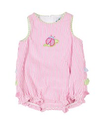 Pink Stripe Seersucker Romper, 100% Cotton, Ladybug