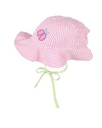 Pink Stripe Seersucker Hat, 100% Cotton, Ladybug