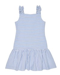 Blue and White Stripe Seersucker, 100% Cotton, Lined