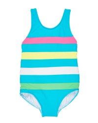 Blue, Multi Color Bands, 80% Nylon 20% Spandex, Lined