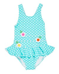 Aqua, White Polka Dot, 91% Nylon 9% Elastan, Flowers, Lined