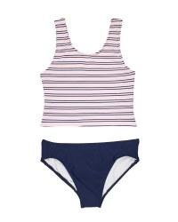 Pink, Navy Stripe Tricot Knit, 86% Nylon 14% Elastan