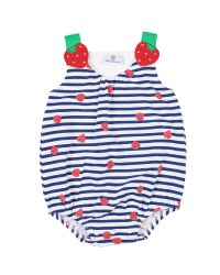 Navy, White Stripe, Strawberry Print, Strawberry Appliques