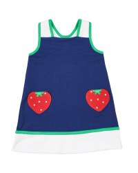 Navy Knit, 97% Cotton 3% Spandex, Strawberry Pockets