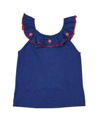 Navy Knit, 97% Cotton 3% Spandex, Strawberry Embroidered on Ruffle Neck