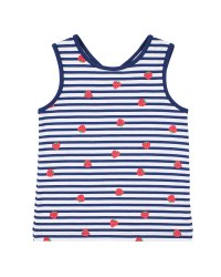 Navy, White Strawberry Print Tank Top, 95% Cotton 5% Spandex