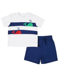 White Tee with Whales in Navy Bands, French Terry Shorts