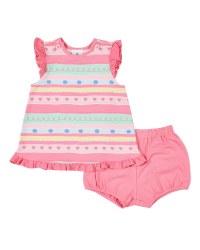 Pink, Green, Yellow Stripe Top, Pink Bloomer