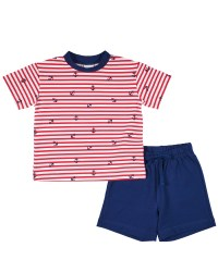 Red, White Stripe Anchor Print Tee, Navy French Terry Shorts