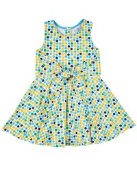 White, Yellow, Blue Dot, 95% Cotton 5% Spandex, Full Skirt, Tie Front