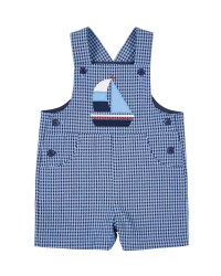 Blue, Navy Check Seersucker Shortall, 65% Cotton,  35% Polyester, Sailboat