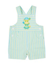 Aqua, Lime Stripe Seersucker Shortall, 100% Cotton, Turtles