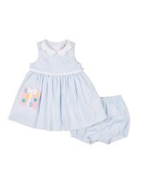 Blu, White Check Pique, 65 Poly 35 Cotton, Present Pocket, Bloomer