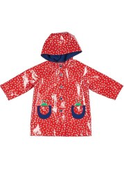 Red & White Dot Raincoat With Ladybug Pockets