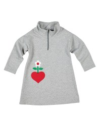 Grey Dot Sweatshirt Mock Turtleneck Dress