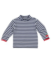 Navy & White Stripe Knit Shirt With Ladybug Applique