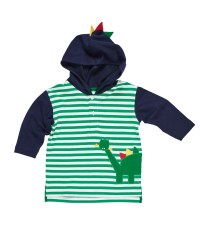 Green Stripe Hoodie With Dinosaur