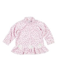 Dot Fleece Top With Flowers