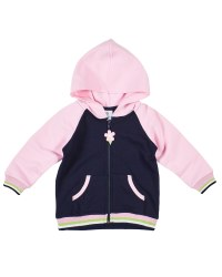 French Terry Hoodie With Flower Zipper Pull