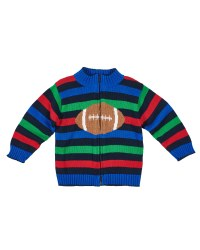 Full Zip Sweater With Intarsia Football