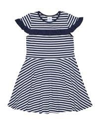 Stripe Knit Dress With Ruffle