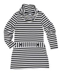 Stripe Knit Cowl Neck Dress