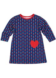 Navy & Red Heart Print Dress