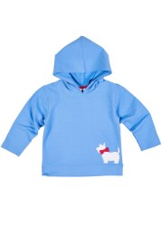 Blue French Terry Hoodie With Scottie