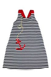 Navy Stripe Knit Dress With Anchor