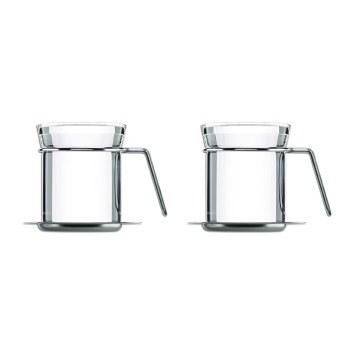 Mono Mugs set of 2 w Saucer