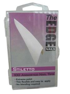 The Edge Stiletto Wh Tip 100pk
