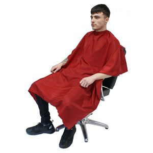 HT Barber Gown Red With Popper
