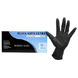 Black Satin Gloves Large 5pair