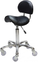 Saddle Stool with Back - Ch (P