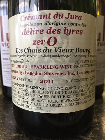 """2011 Ludvig Bindernagel, AOC Cremant du Jura, """"Delire des Lyres,"""" zer0"""