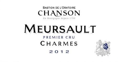2012 Bastion de L'Oratoire Chanson, AOC Meursault, Charmes Premier Cru