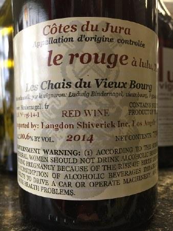 """2014 Ludwig Bindernagel, AOC Cotes du Jura, """"Le Rouge a Lulu,"""" Red Blend"""