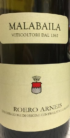 2014 Malabaila, DOCG Roero Arneis, Piedmont, Italy.