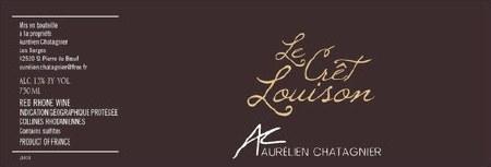 """2015 Aurelien Chatagnier, """"Cret Louison,"""" VDP Rouge"""