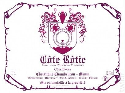 2012 Christiane Chambeyron-Manin, AOC Cote Rotie, Cote Brune, France