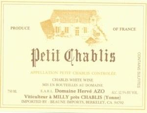 2014 Domaine Herve Azo, Petit Chablis, France