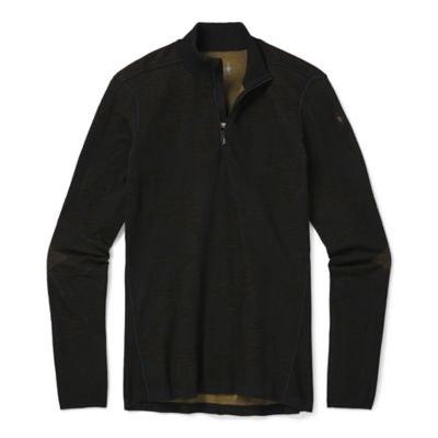 2021 Smartwool Intraknit Merino 200 Pattern 1/4 Zip Black/Military Olive Camo Medium