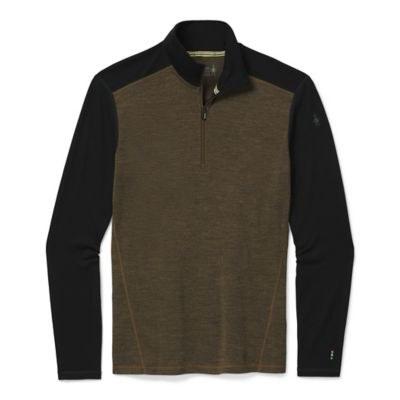 2021 Smartwool Men's Merimo 250 1/4 Zip Neck Military Olive Heather/Black Medium