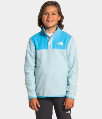 2021 TNF Glacier Youth Quarter-Snap Pullover Starlight Blue Small