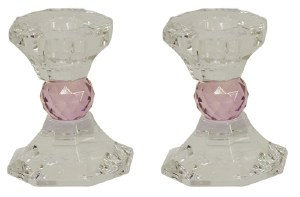 "Crystal Candle Sticks Pink Jewel Design 3.25"""